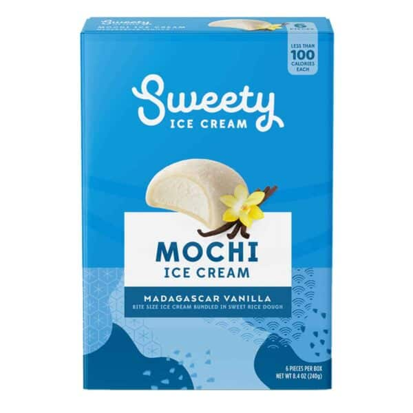 Sweety Ice Cream Mochi, Madagascar Vanilla, 6 Unidades