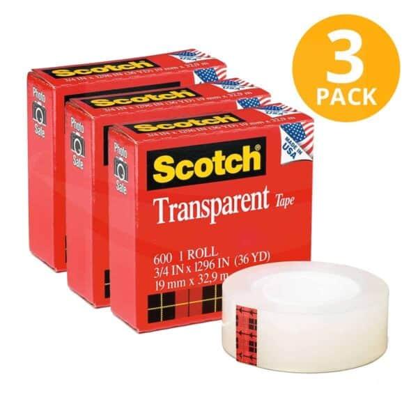 Scotch, Cinta Adhesiva Transparente Delgada, 32.9 mts (Pack de 3)