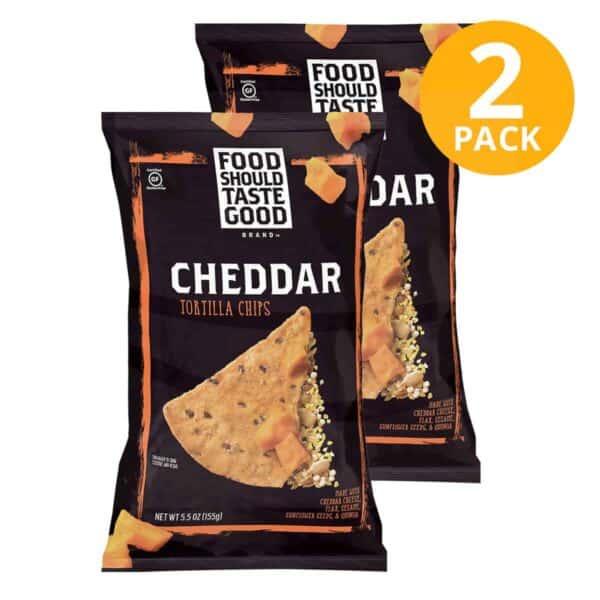 Cheddar Tortilla Chips, Food Should Taste Good, 5.5 OZ (Pack de 2)