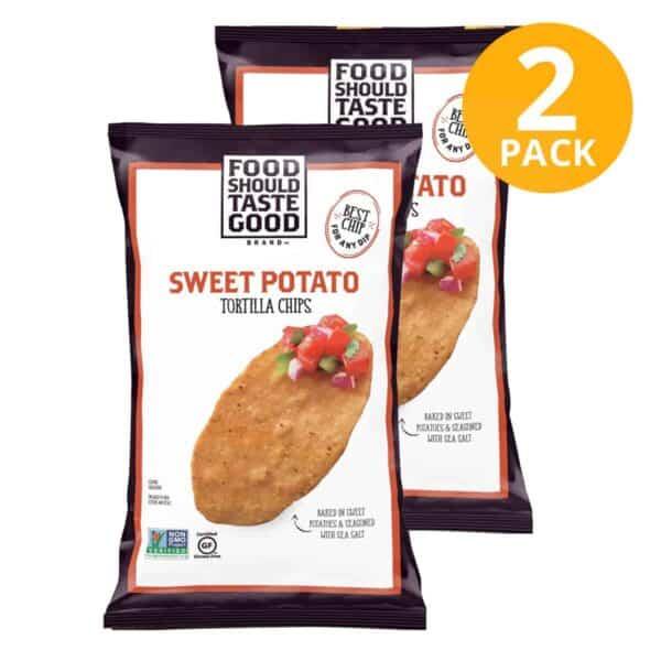 Sweet Potato Tortilla Chips, Food Should Taste Good, 5.5 OZ (Pack de 2)