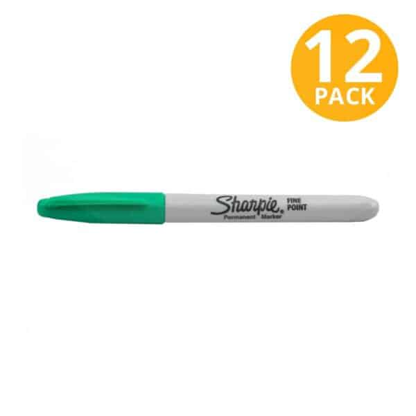 Sharpie, Marcador Permanente Verde Punta Fina (Pack de 12)