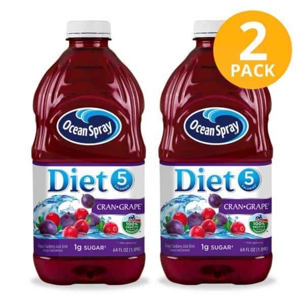 Ocean Spray Diet Cran-Grape, Cranberry Grape, 1.89 L (Pack de 2)