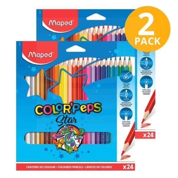 Maped, 24 Lápices de Color Color'Peps (Pack de 2)