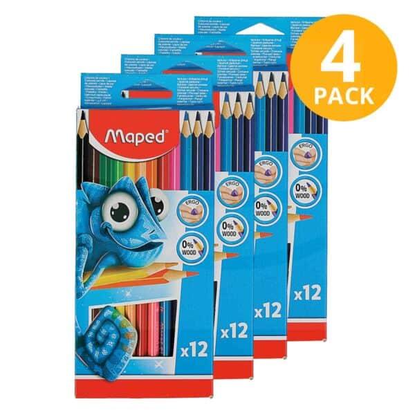 Maped, 12 Lápices de Color (Pack de 4)