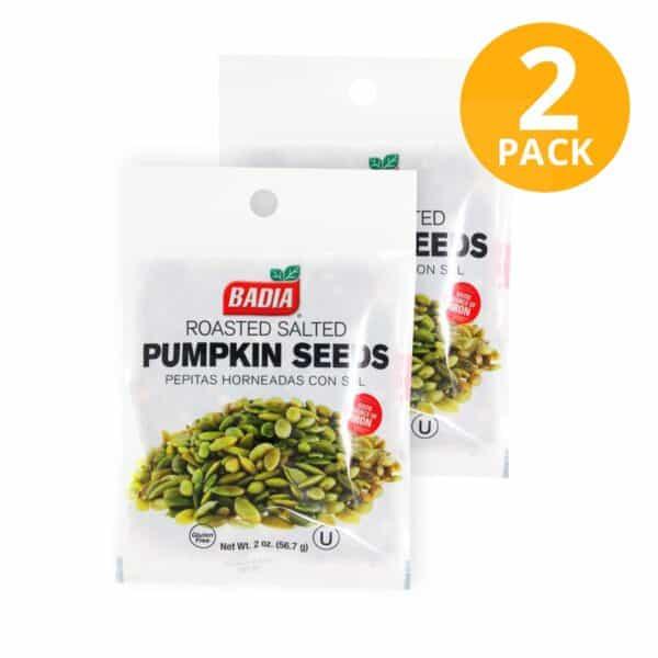 Badia, Pumpkin Seeds Pepitas Horneadas con Sal, 56.7 gr (Pack de 2)
