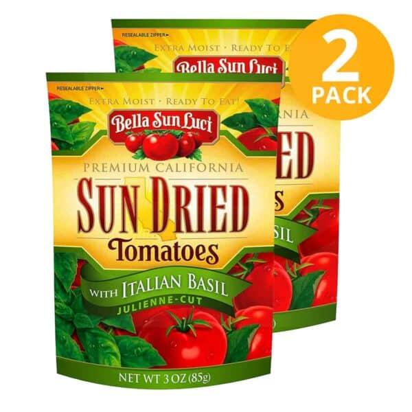Sun Dried Tomatoes with Italian Basil, Bella Sun Luci, 3 OZ (Pack de 2)