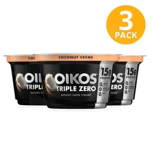 Yogurt Oikos Triple Zero, Coconut Creme, 5.3 OZ (Pack de 3)