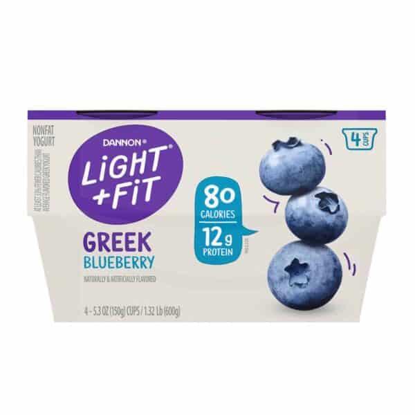 Yogurt Dannon Light & Fit, Greek Blueberry, 5.3 OZ (Pack de 4)