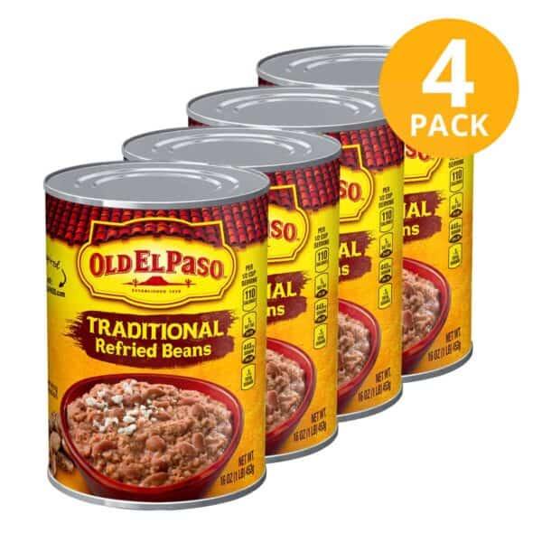 Old El Paso, Traditional Refried Beans (Frijoles), 16 OZ (Pack de 4)