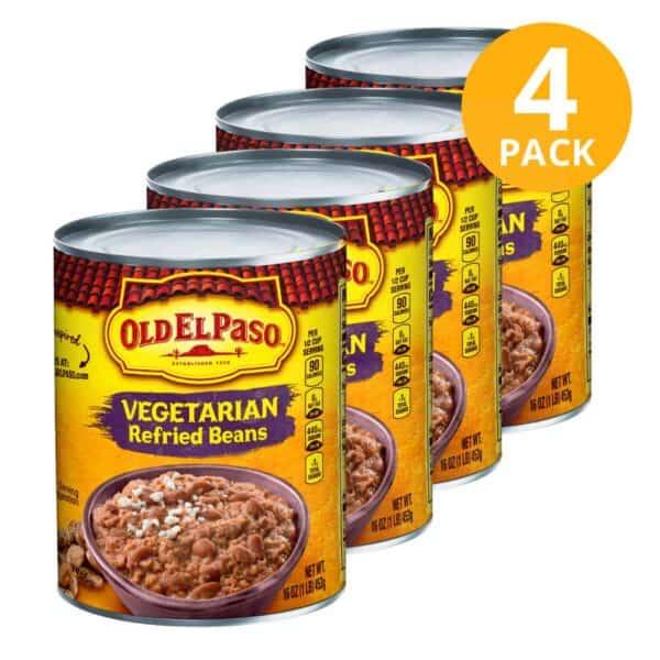Old El Paso, Vegetarian Refried Beans (Frijoles), 16 OZ (Pack de 4)