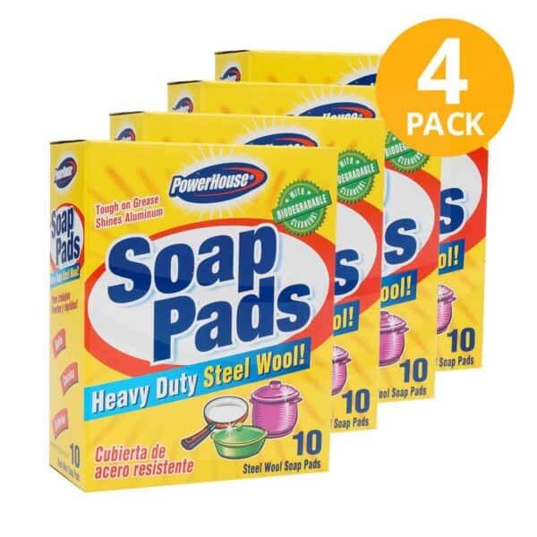 Soap Pads, PowerHouse, Heavy Duty Steel Wool (Pack de 4)