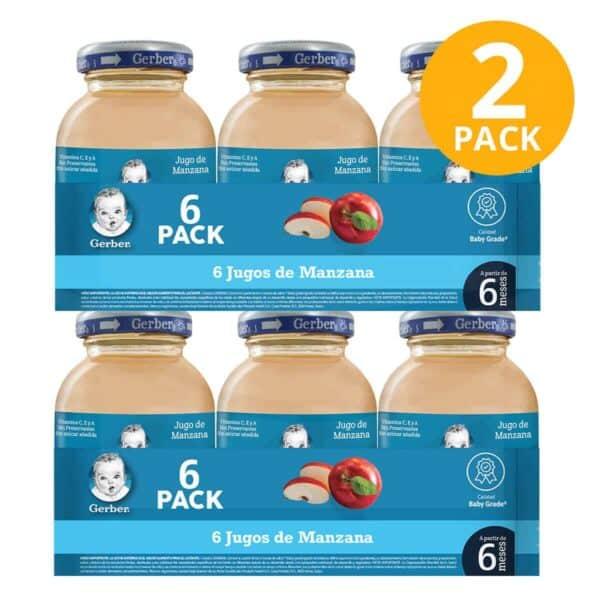 Gerber, Jugo de Manzana, 12 unidades, 118 ml (Pack de 2 x 6)