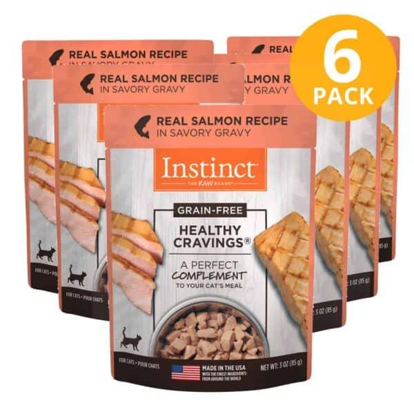 Instinct Healthy Cravings, Para Gatos, Grain Free Salmon Pouch, 3 OZ (Pack de 6)