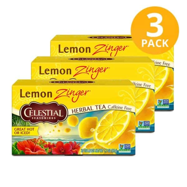 Celestial Seasonings, Lemon Zinger Herbal Tea, 60 Sobres (Pack de 3 x 20)