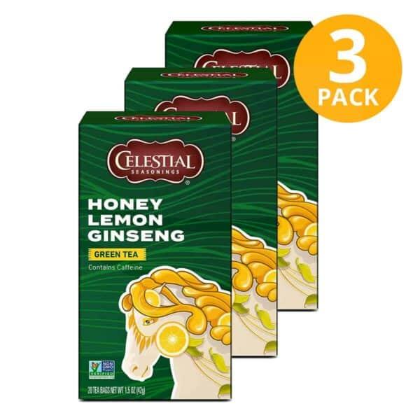 Celestial Seasonings, Honey Lemon Ginseng Green Tea, 60 Sobres (Pack de 3 x 20)