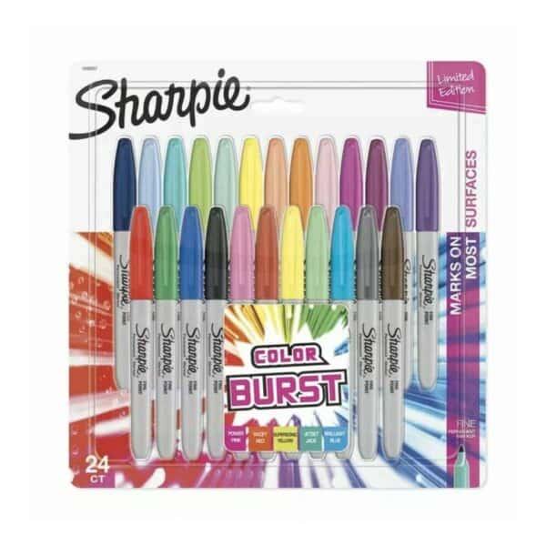 Sharpie Color Burst, 24 Marcadores Permanentes Punta Fina