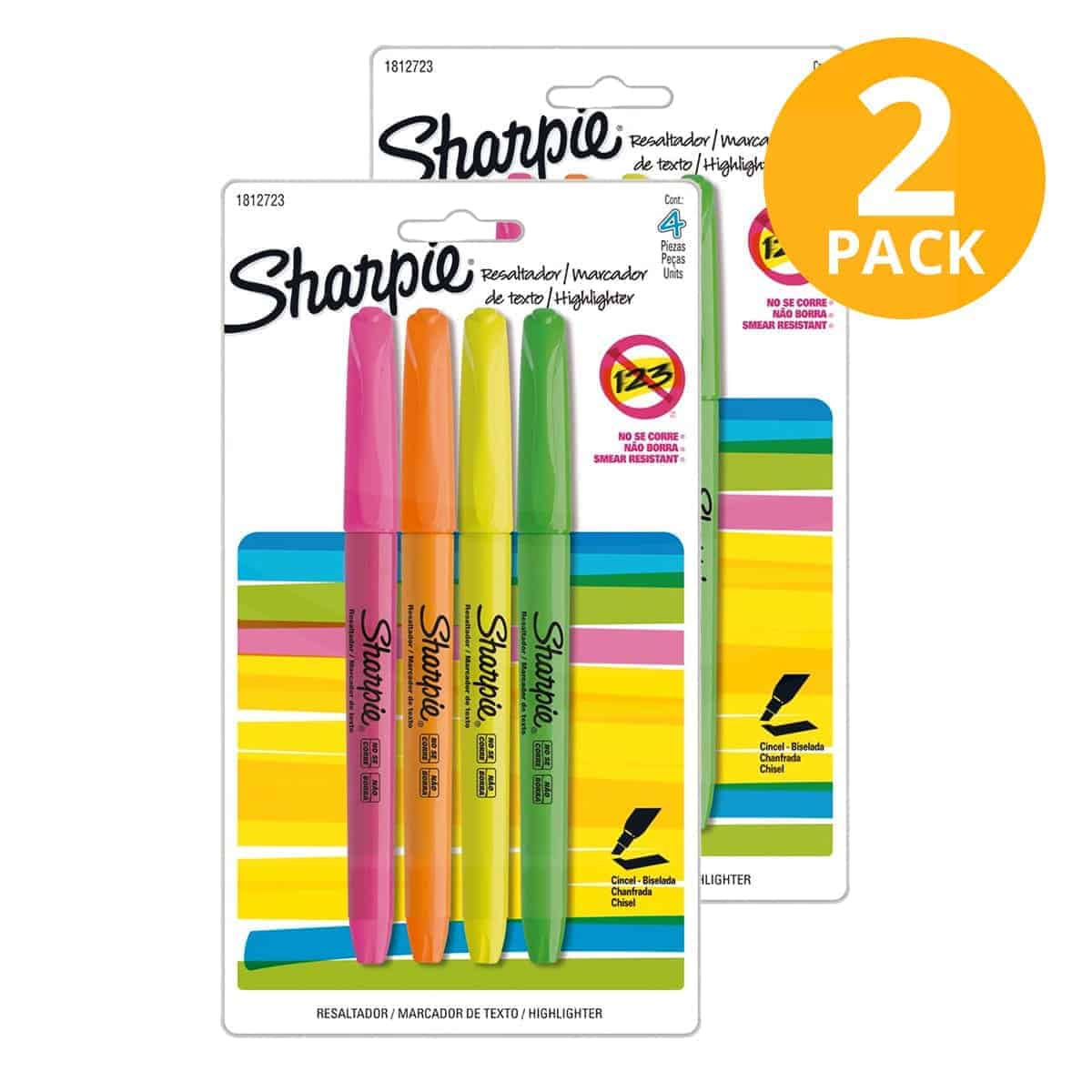 Sharpie, 8 Resaltadores Delgados (Pack de 2 x 4)