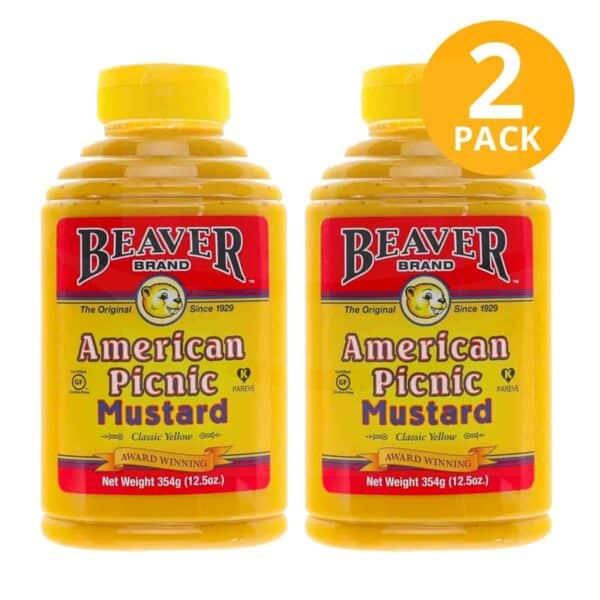 American Picnic Mustard, Beaver Brand, 12.5 OZ (Pack de 2)