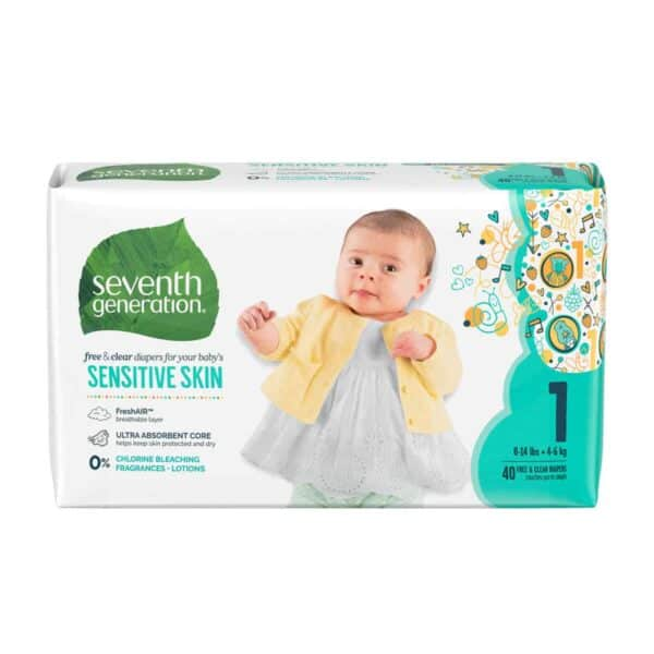 Pañales Seventh Generation, Sensitive Skin, Stage 1, 40 Unidades