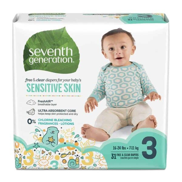 Pañales Seventh Generation, Sensitive Skin, Stage 3, 31 Unidades