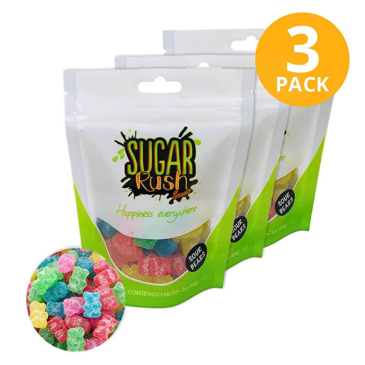Sugar Rush, Sour Bears, Gomitas 3 OZ (Pack de 3)