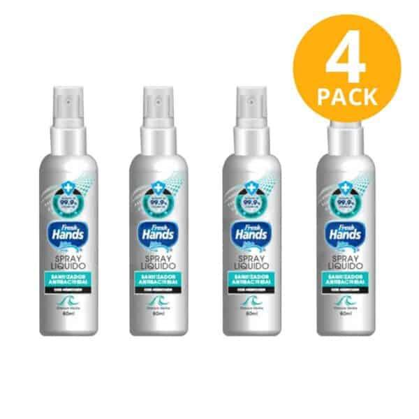 Fresh Hands Spray Líquido Antibacterial, 60 ml (Pack de 4)