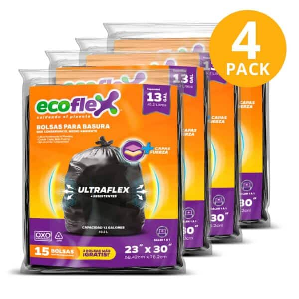 Bolsas para Basura Medianas Ecoflex, Biodegradables, 60 Bolsas (Pack de 4 x 15)