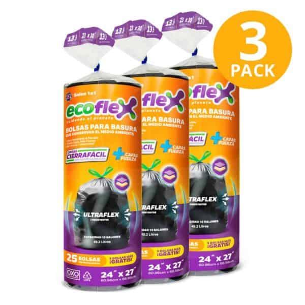 Bolsas para Basura Medianas  en Rollo con Cierre Fácil Ecoflex, Biodegradables, 75 Bolsas (Pack de 3 x 25)