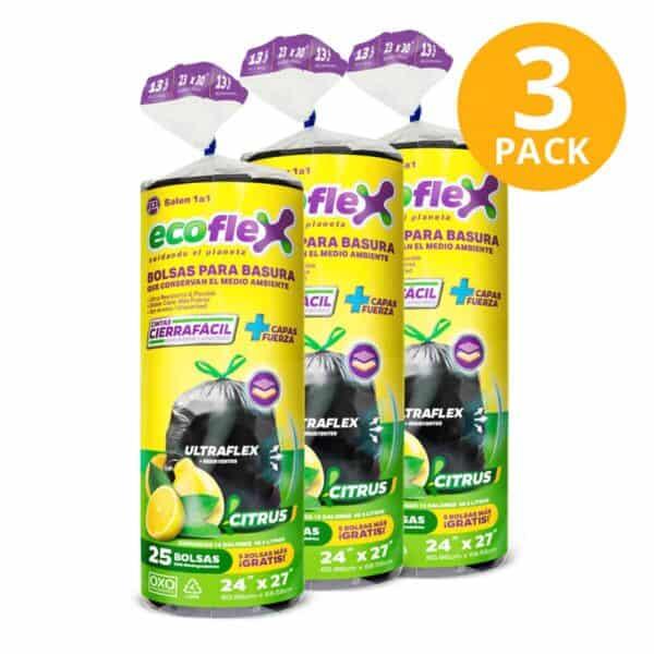 Bolsas para Basura Medianas en Rollo con Cierre Fácil Ecoflex Citrus, Biodegradables, 75 Bolsas (Pack de 3 x 25)