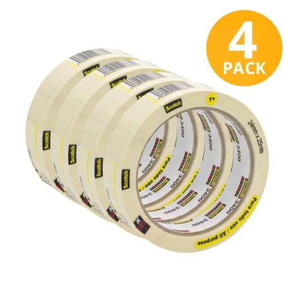 Scotch, Cinta Masking Tape Blanca Delgada, 25 mts (Pack de 4)