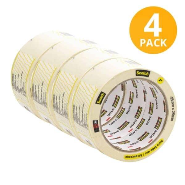 Scotch, Cinta Masking Tape Blanca Gruesa, 25 mts (Pack de 4)