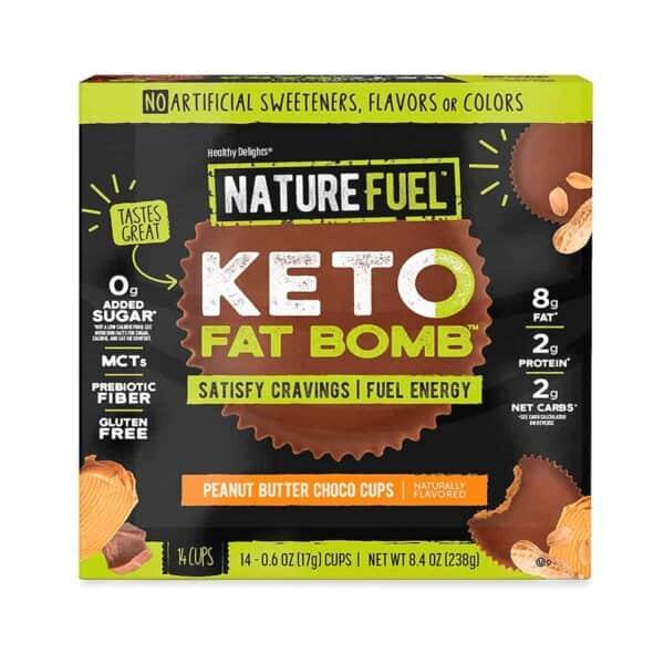Nature Fuel Keto Fat Bomb, Peanut Butter Choco Cups, 17 gr (Pack de 14)