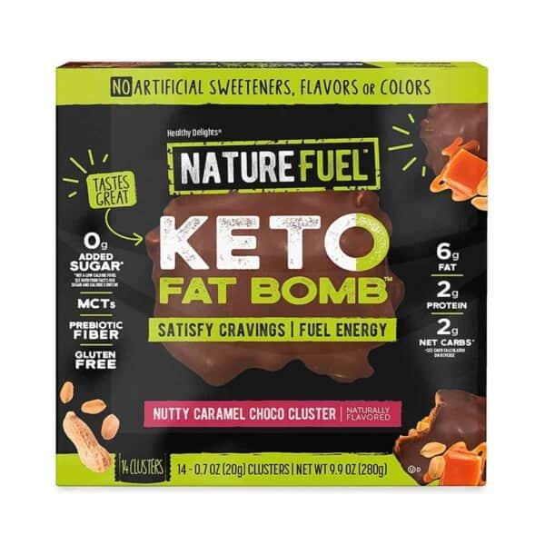 Nature Fuel Keto Fat Bomb, Nutty Caramel Choco Cluster, 20 gr (Pack de 14)