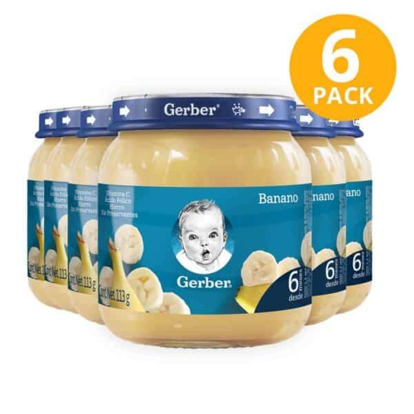 Gerber, Colado de Banano, 113 gr (Pack de 6)