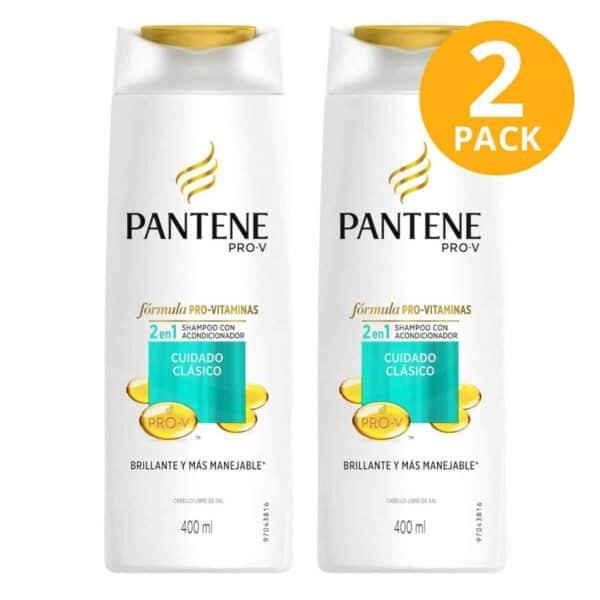Pantene Pro-V Shampoo con Acondicionador 2 en 1, Cuidado Clásico, 400 ml (Pack de 2)