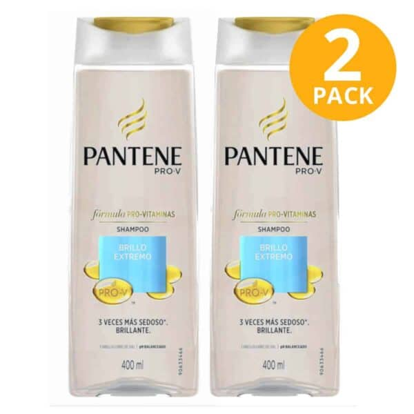 Pantene Pro-V Shampoo Brillo Extremo, 400 ml (Pack de 2)