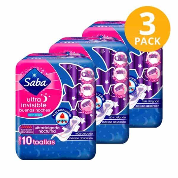 Saba Ultra Invisible Buenos Noches Con Alas Ultradelgada, 30 Toallas Femeninas (Pack de 3 x 10)