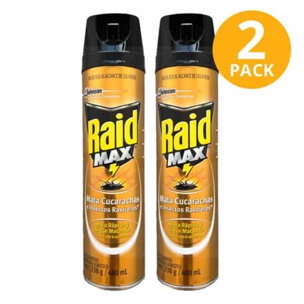Raid Max, Insecticida Mata Cucarachas e Insectos Rastreros, 400 ml (Pack de 2)
