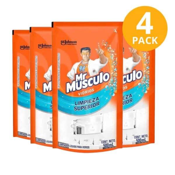 Mr Músculo Vidrios, Limpieza Superior, Refill 500 ml (Pack de 4)