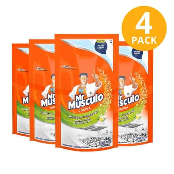 Mr Músculo Cocina Antigrasa, Limón, Refill 500 ml (Pack de 4)
