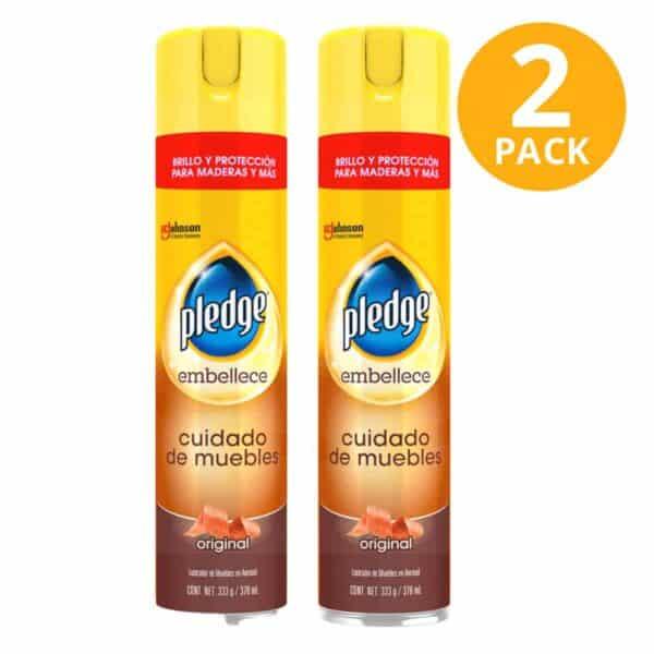 Pledge Embellece Spray, Cuidado de Muebles, 378 ml (Pack de 2)