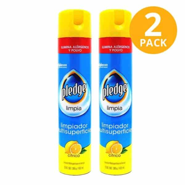 Pledge Limpia Spray, Limpiador Multisuperficies Cítrico, 432 ml (Pack de 2)