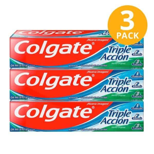 Colgate Triple Acción, Crema Dental, 100 ml (Pack de 3)