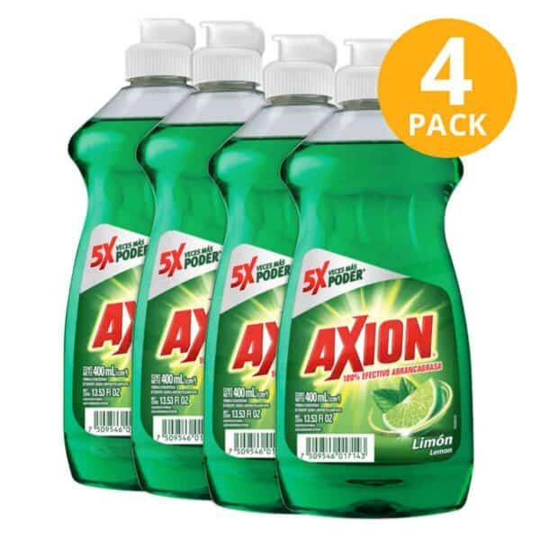 Axion Limón, Jabón Líquido para Platos, 400 ml (Pack de 4)