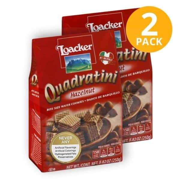Quadratini Hazelnut, Loacker, 250 gr (Pack de 2)