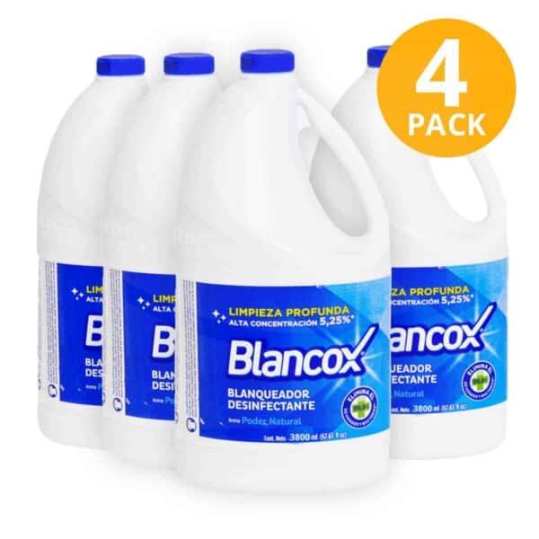 Blancox Blanqueador Desinfectante, Poder Natural, 3.8 L (Pack de 4)
