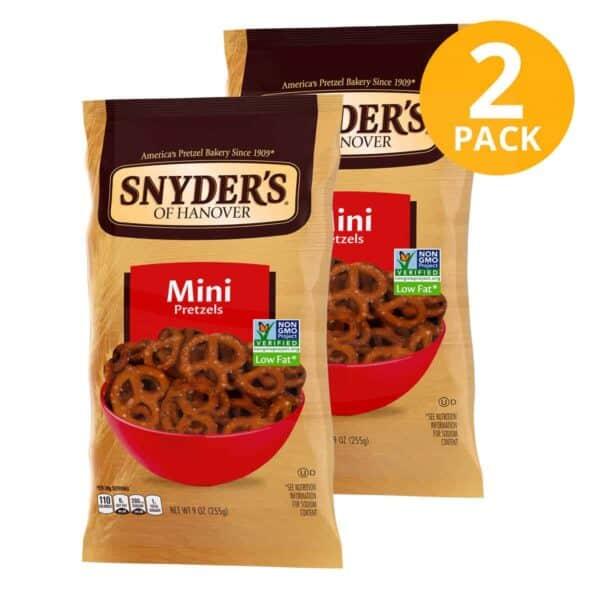Snyder's of Hanover Mini Pretzels, 9 OZ (Pack de 2)
