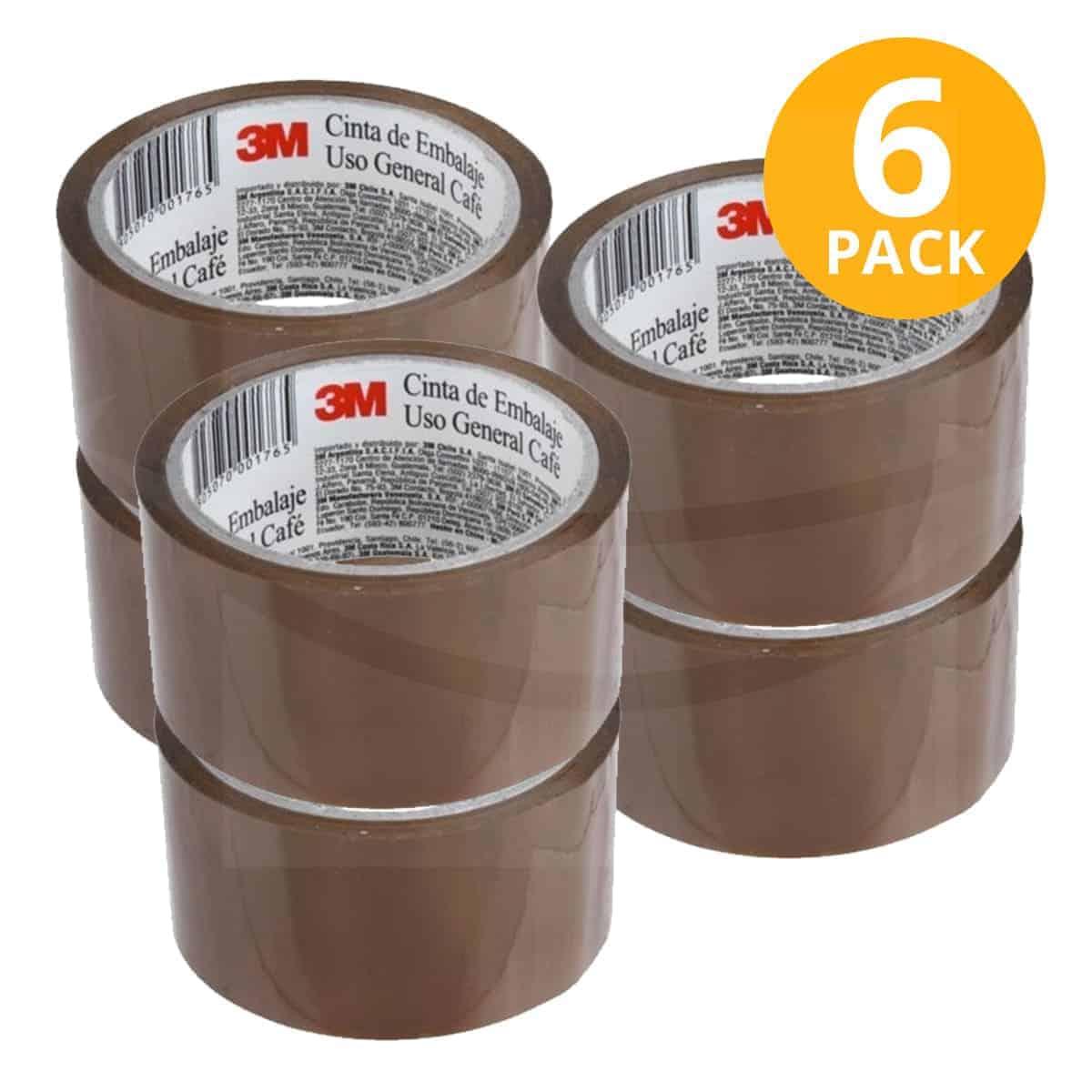 Scotch, Cinta Adhesiva Embalaje Chocolate, 40 mts (Pack de 6)