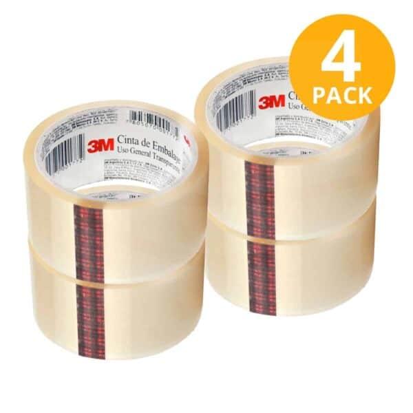 Scotch, Cinta Adhesiva Embalaje Transparente, 40 mts (Pack de 4)