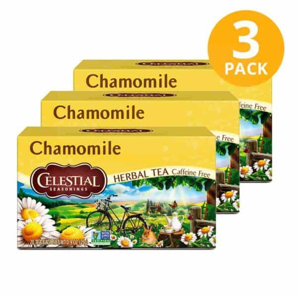 Celestial Seasonings, Chamomile Herbal Tea, 60 Sobres (Pack de 3 x 20)